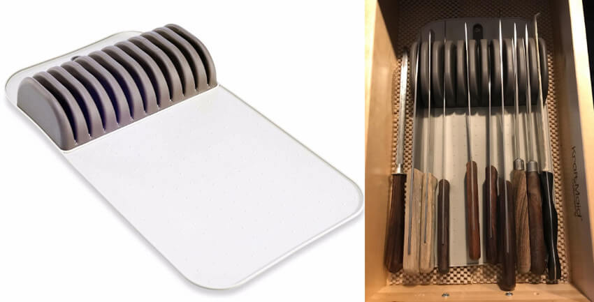 This easy-to-clean knife mat will save you some precious counter space.