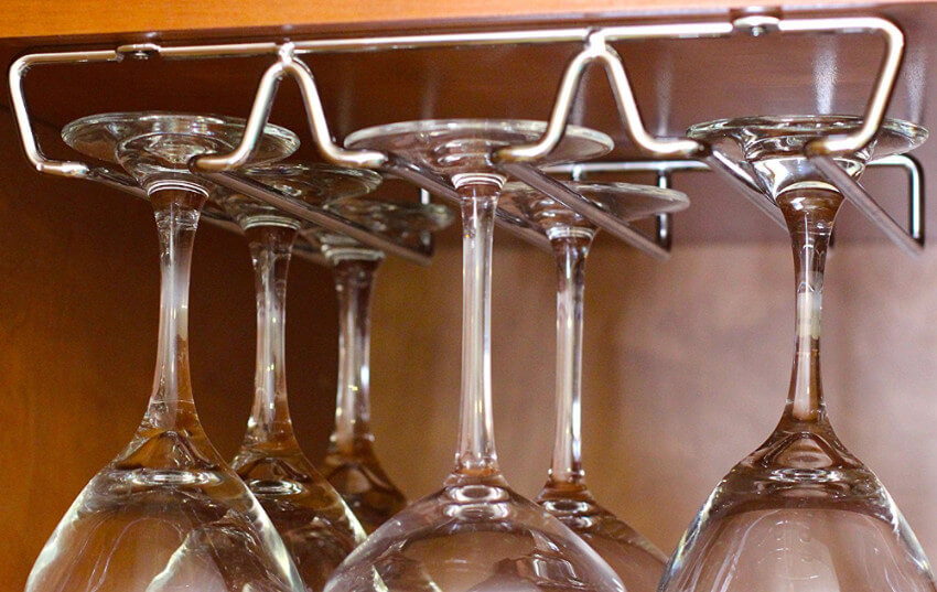 No more opening the cabinet to find broken wine glasses with this safe stemware holder.