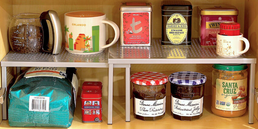 Make your cabinets much more practical with these stackable shelf organizers