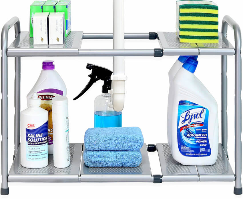 No more under-the-sink-mountain-of-clutter with this super practical shelf organizer.
