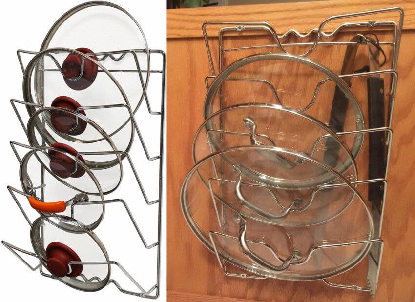 A door-mount pot lid rack so you don't misplace a lid again