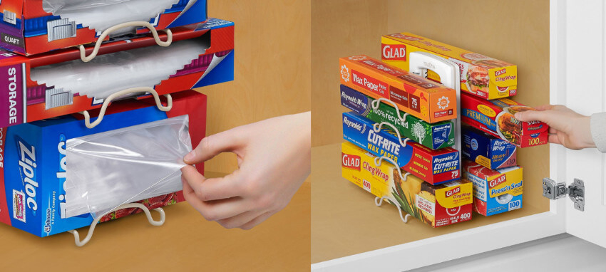 This adjustable wrap organizer easily fits in your cabinet and will make all your packets of plastic identifiable