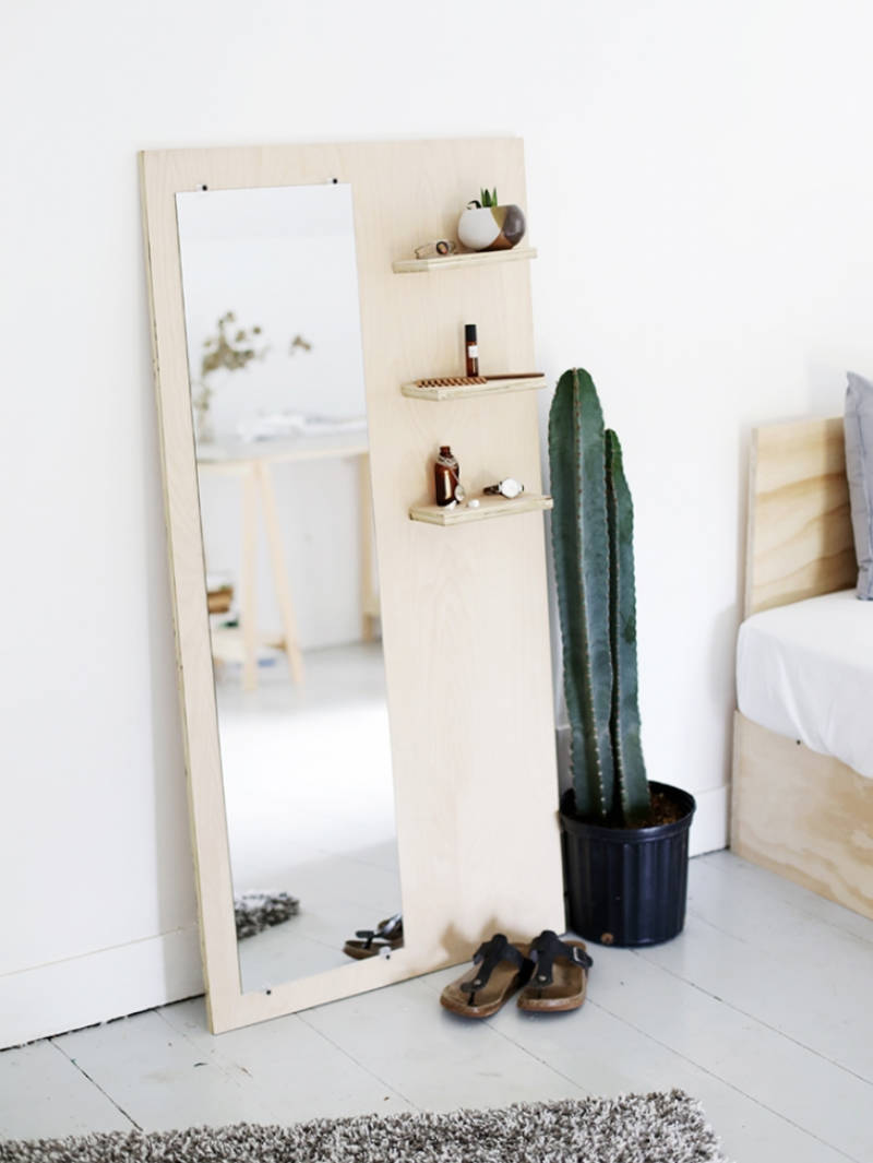 A plywood floor mirror that's easy to make.