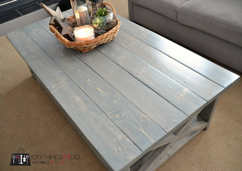 A rustic coffee table for your living room.