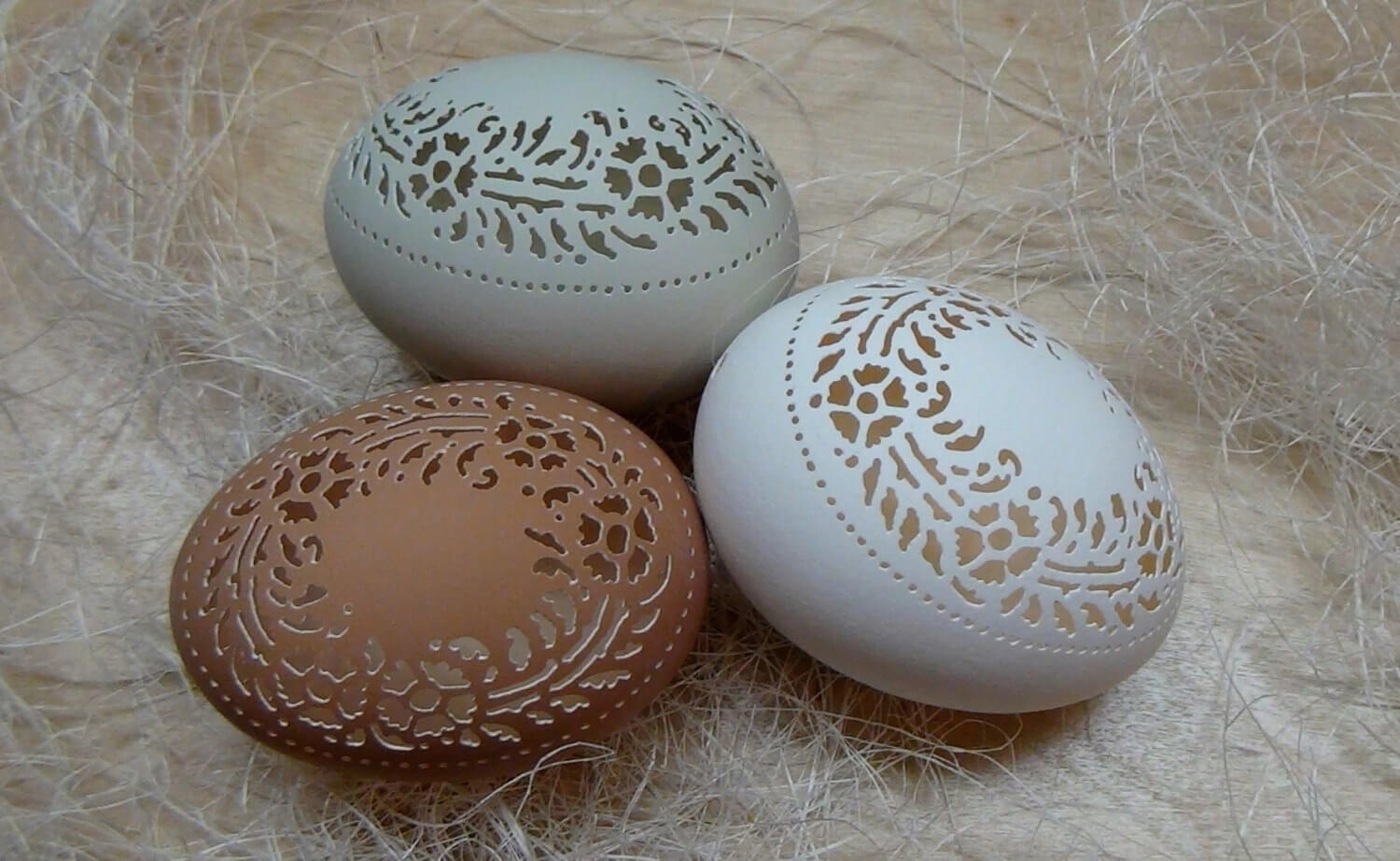 A trio of nice eggs having since been carved