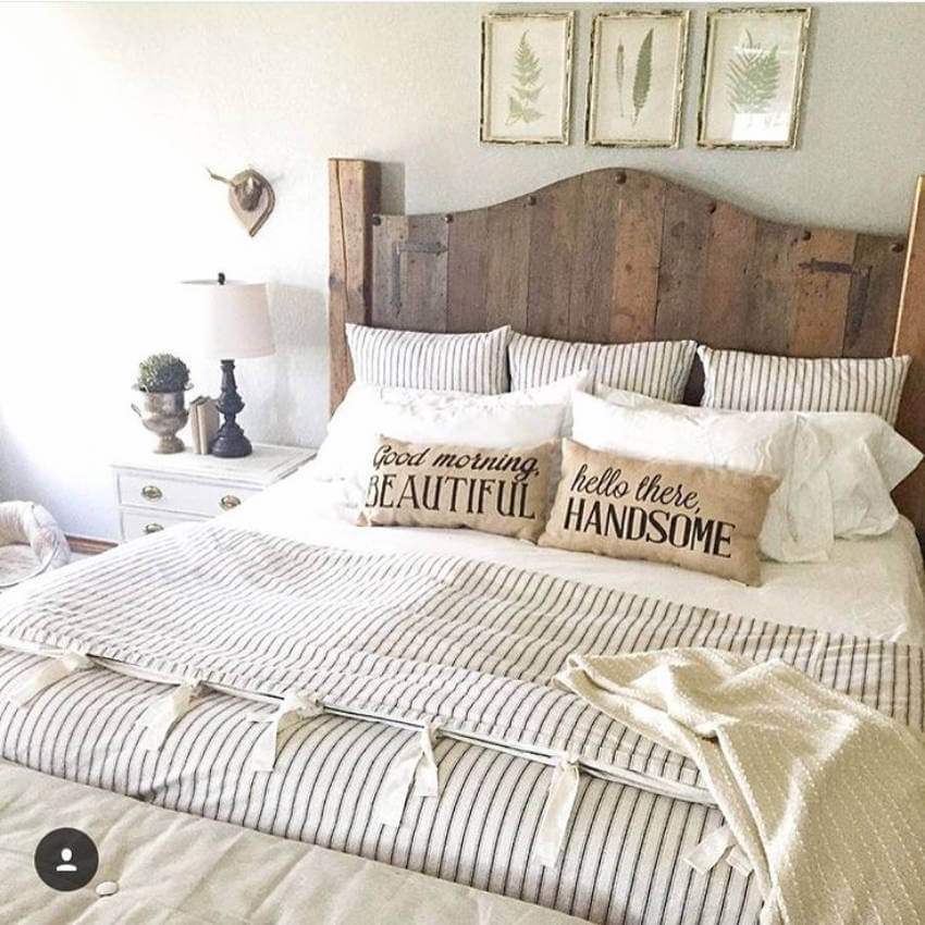 This wood headboard is a beautiful decor addition to the bedroom.