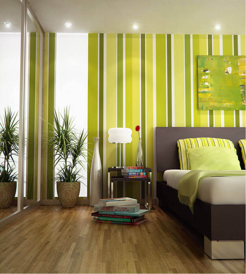 Living room furniture in a lime green light