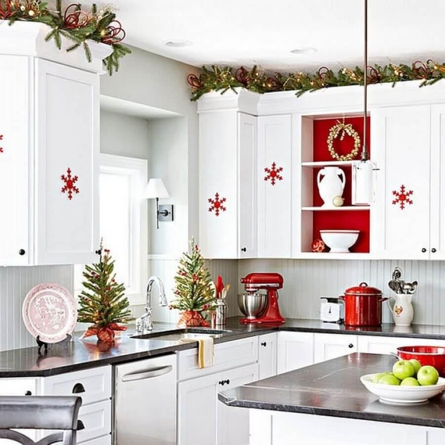 Red and white interior kitchen design