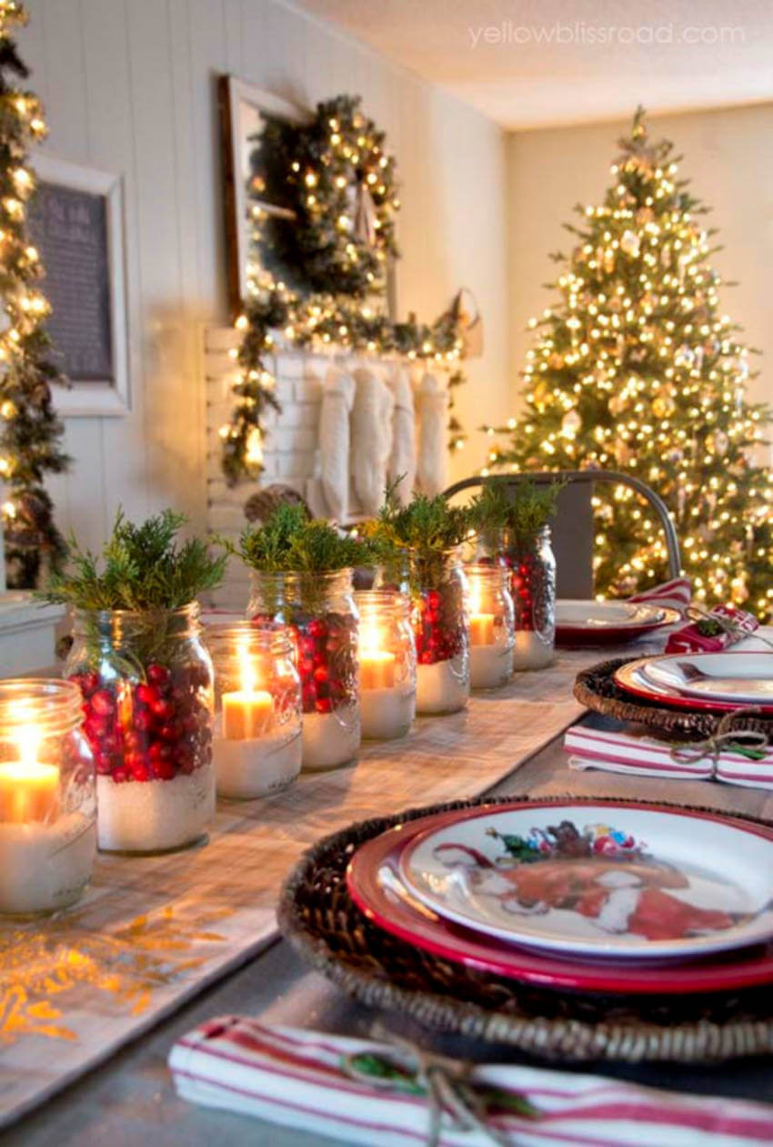 Mason Jars can make a beautiful Christmas tablescape.