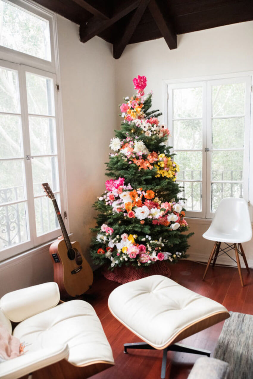 Adding flowers is a great way to decorate the tree