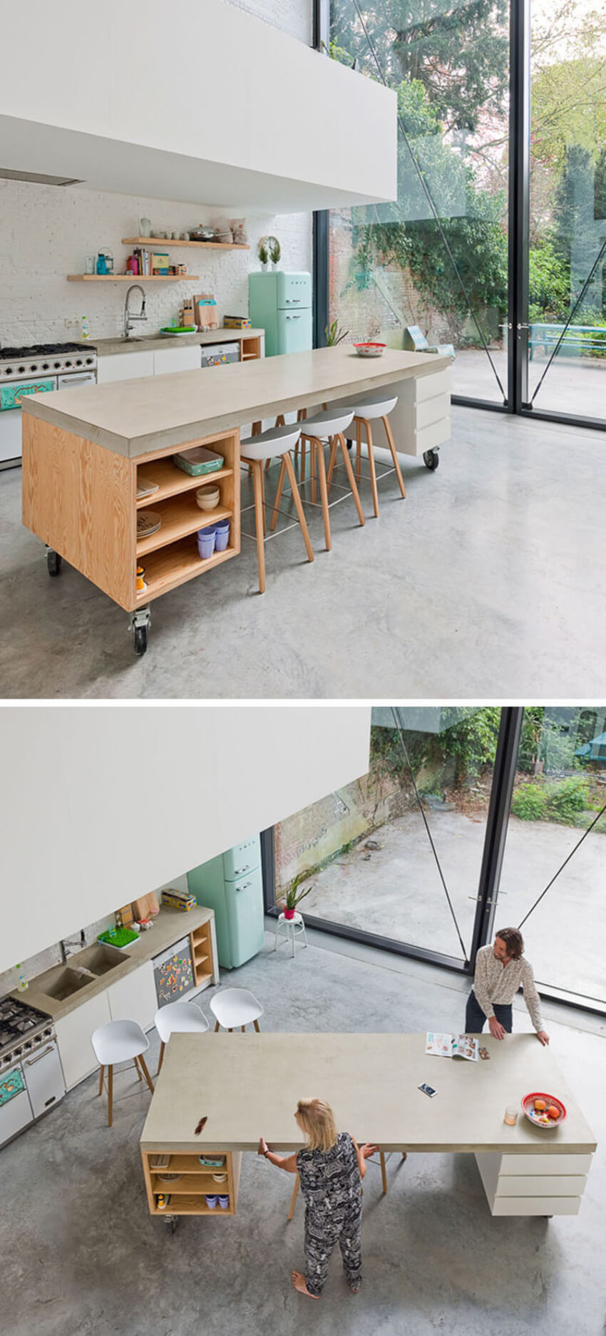 A movable kitchen island is also on the ergonomic design list.