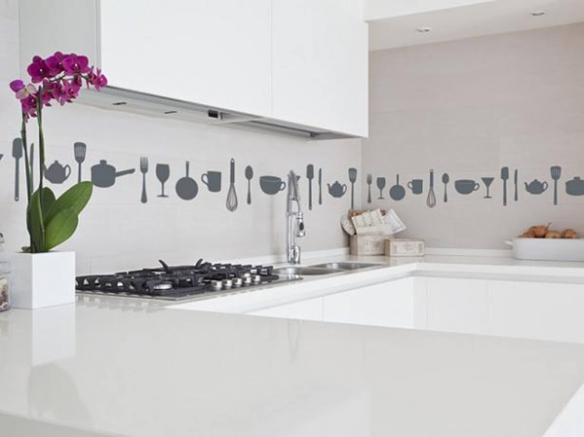 A wall decal backsplash can really liven things up
