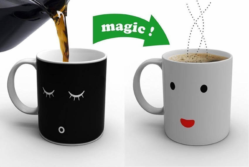 A magical mug that wakes up when coffee is poured into it. Just like you.