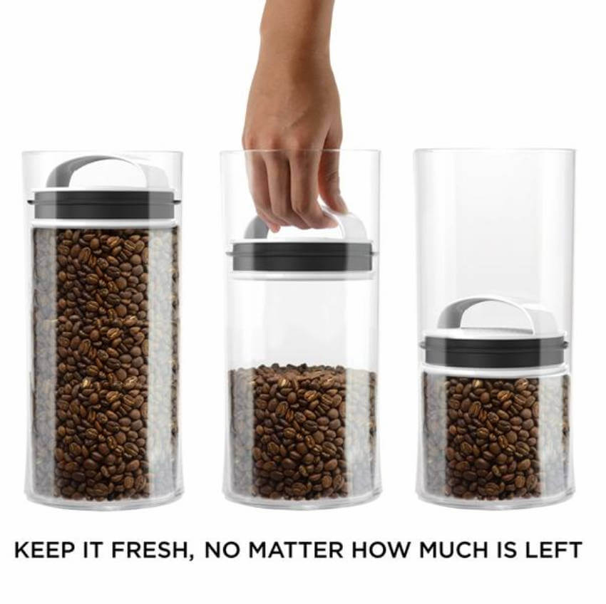 This chic storage container will keep your coffee with the freshest taste possible, no matter how much is left.
