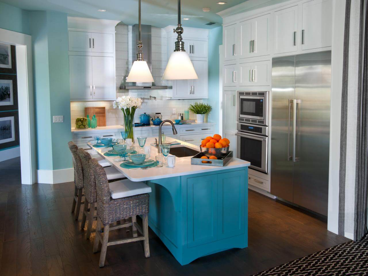 Finally, enjoy the light blue kitchen island