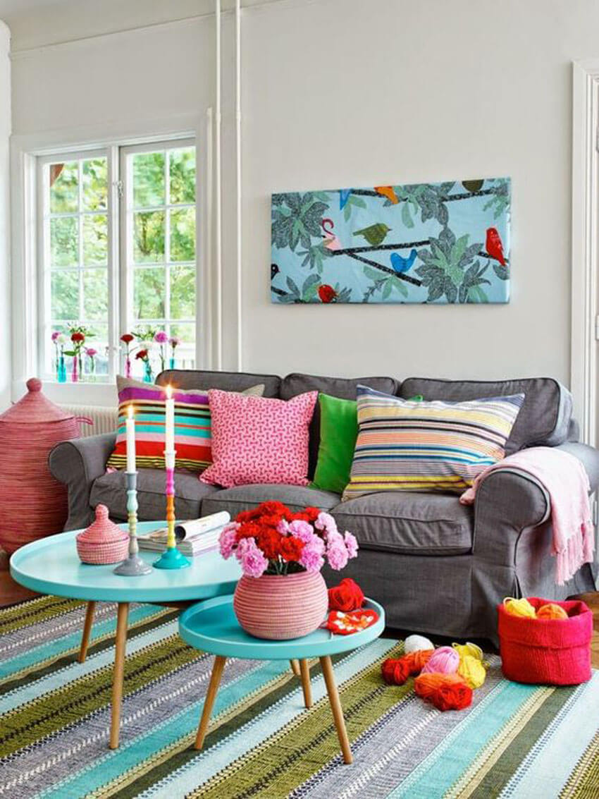 This colorful living room from Pinterest is a great way to beat the winter blues!