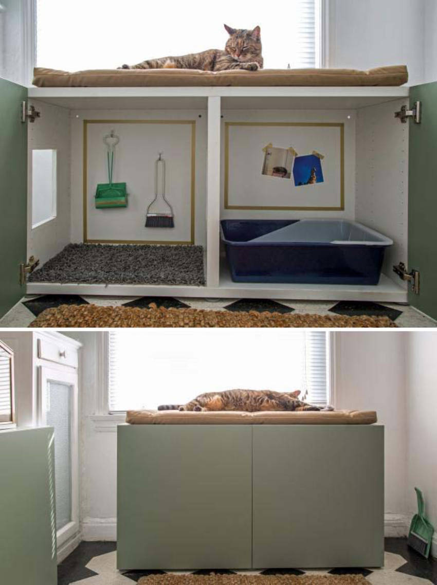 Hiding the litter box inside a cabinet is an awesome pet hack!