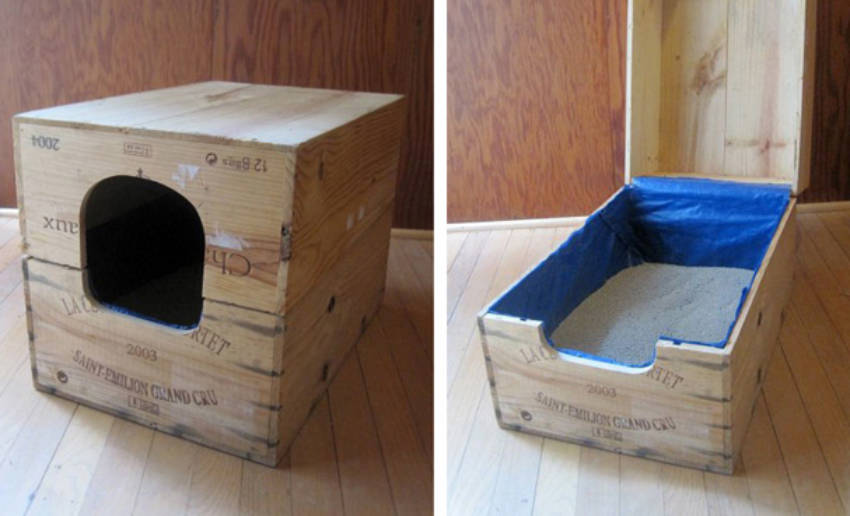 A simple wine case upgrade makes for a great litter box concealer.