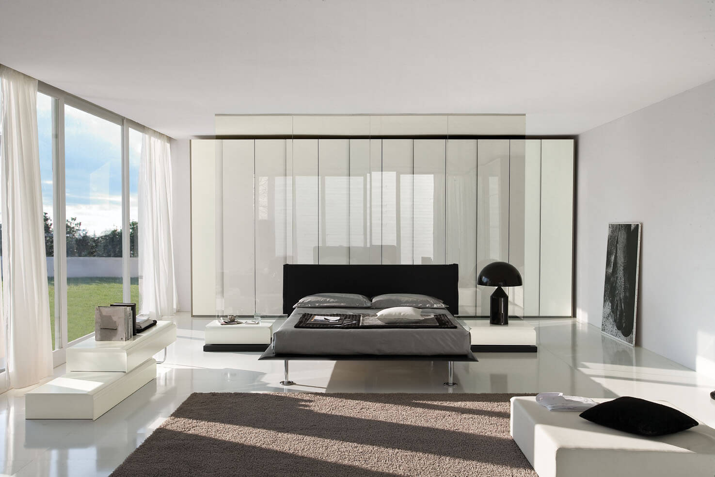 The contemporary bedroom is elegant and sophisticated