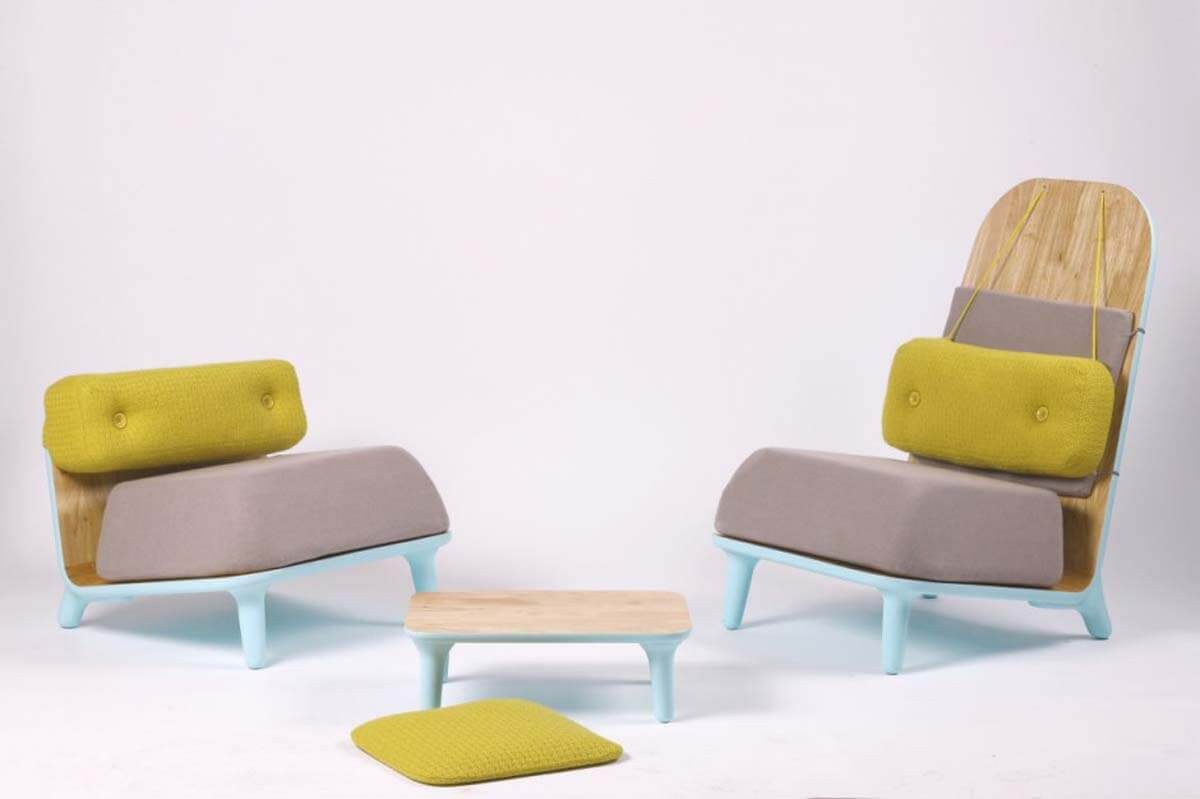 Funky grey and yellow chairs that really spice up the home interior