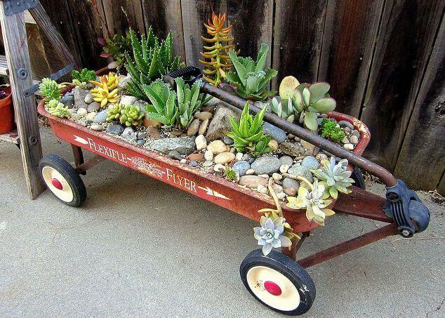 A portable garden all due to antique toys left around