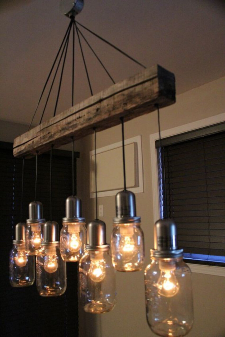 Mason jar lighting fixtures are definitely industrial.