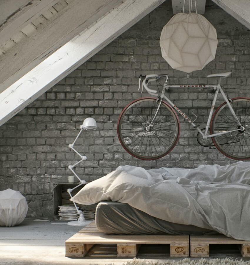 Combine a pallet bed with a comfy mattress and you're good to go!