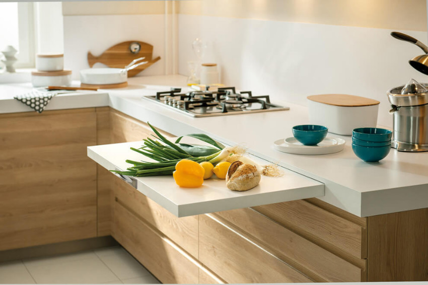 Add kitchen space with a hidden countertop.