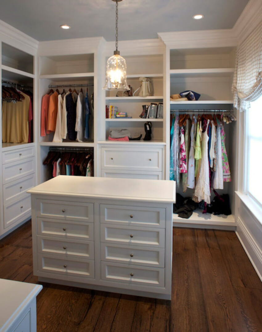 A closet island can be helpful to store minor items, such as underwear and socks.