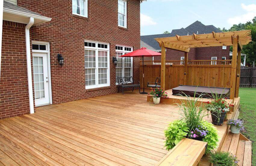 Beautiful custom wooden decks for a home exterior