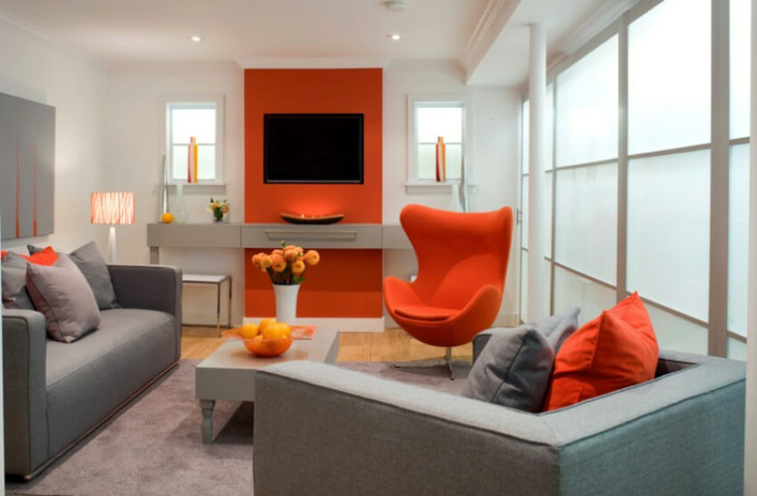 Orange is energetic and makes people more talkative, great for the living room!