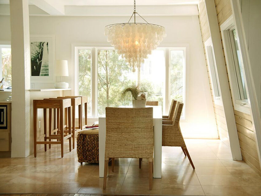 A big fancy lighting fixture is great for the dining room.