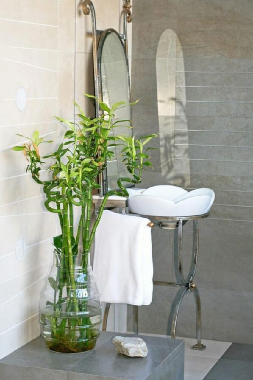 Bamboo is a great option for your bathroom.