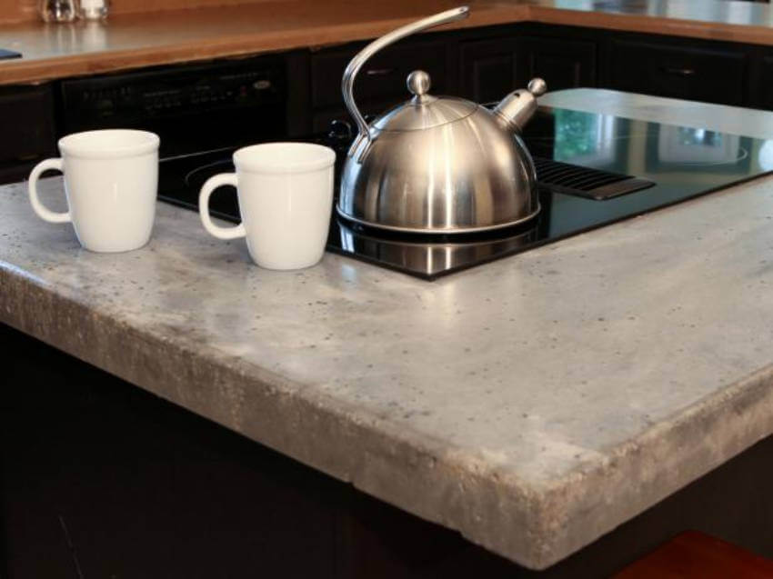 The most energy efficient material for countertops is definitely concrete!