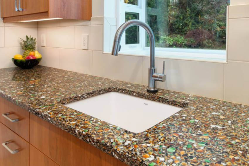 Recycled glass countertops are eco-friendly and beautiful!