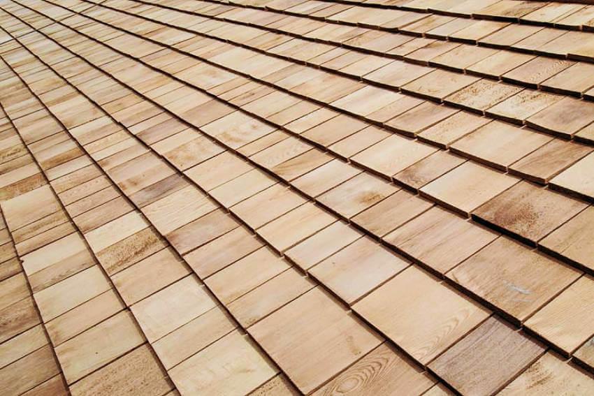 Cedar wood shakes roof.
