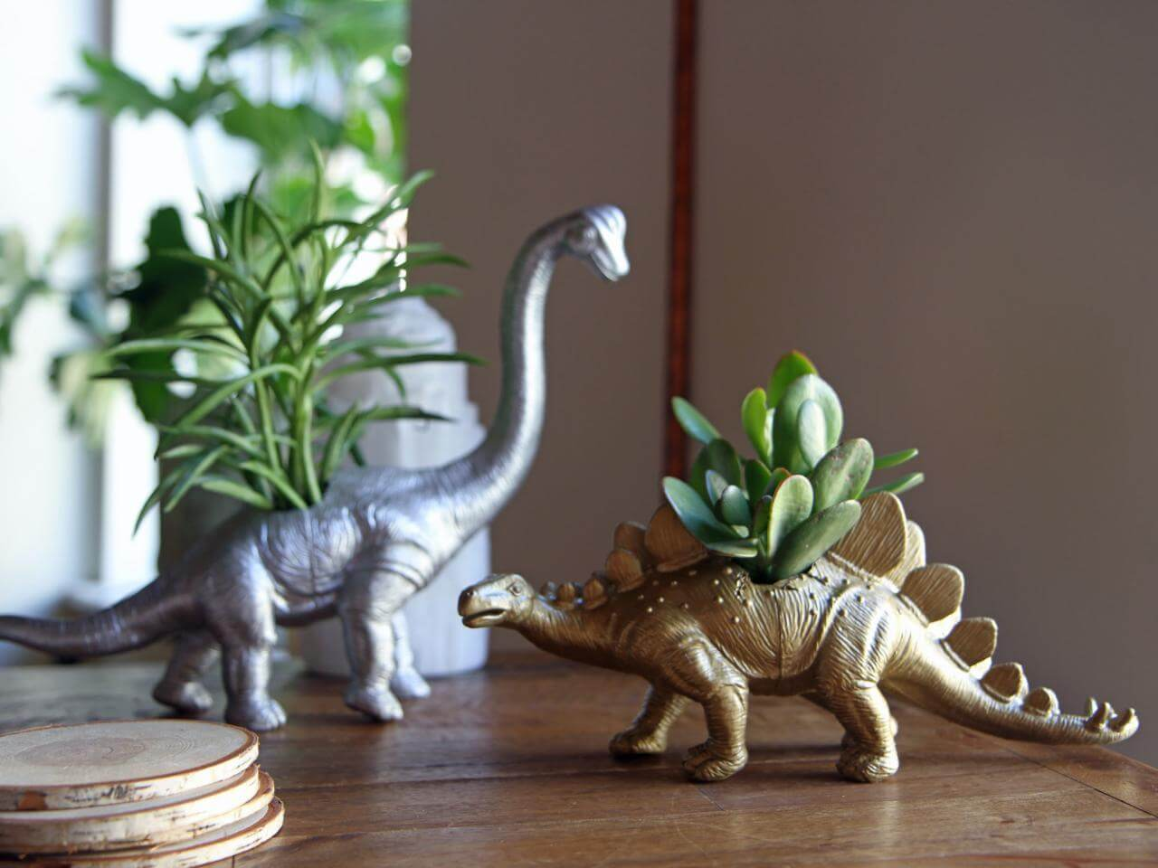 DIY planters made from dino toys