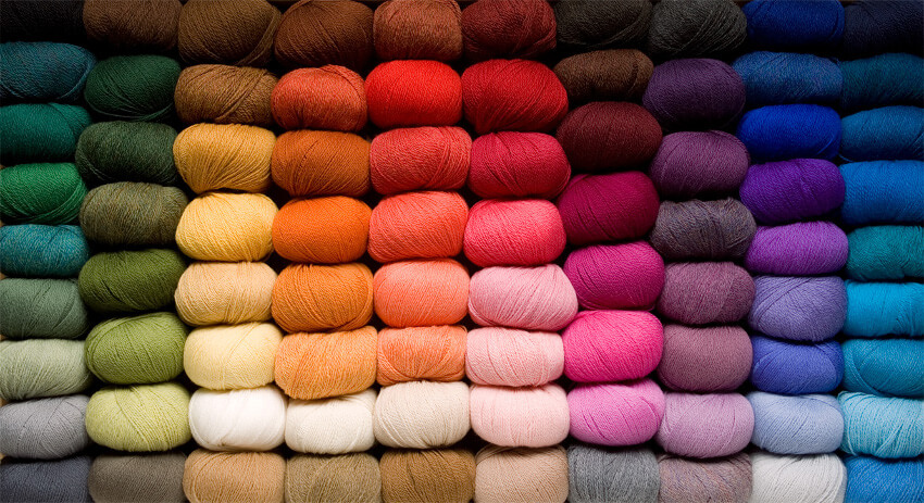 Several types and colors of yarn.
