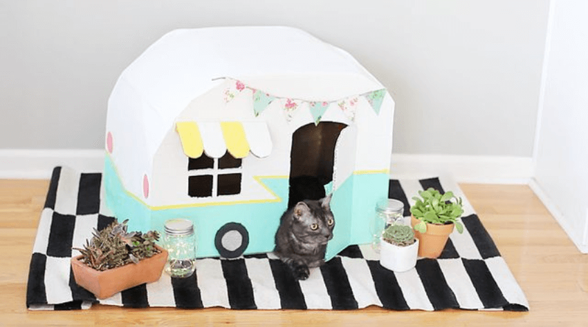 This vintage cat camper is super adorable!
