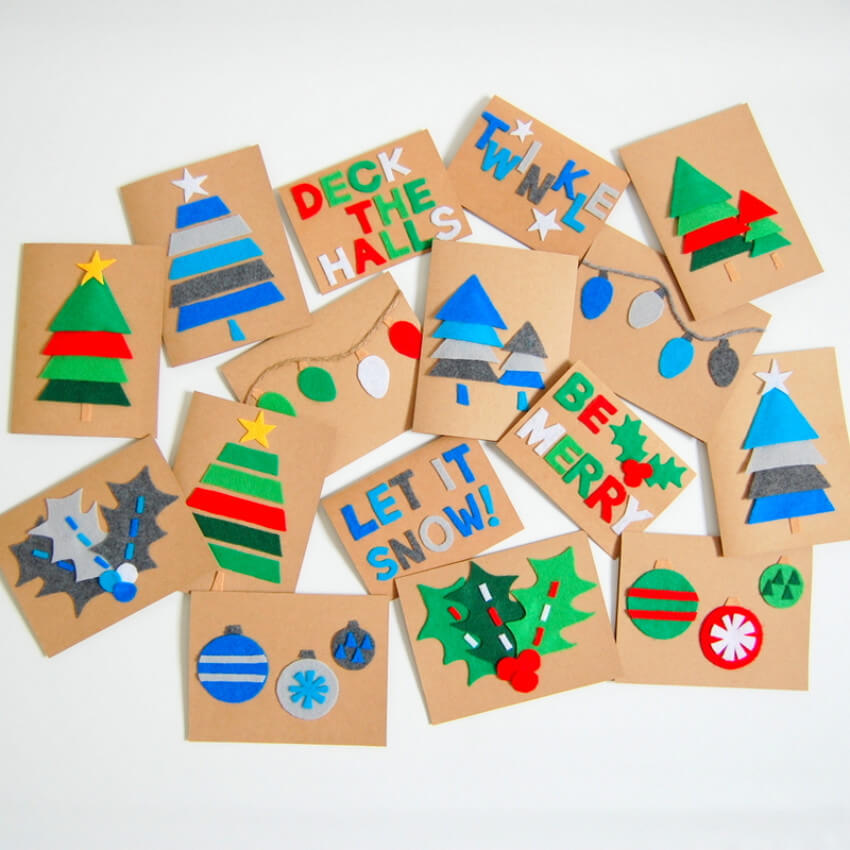 DIY felt cards can be easily made with all sorts of patterns!