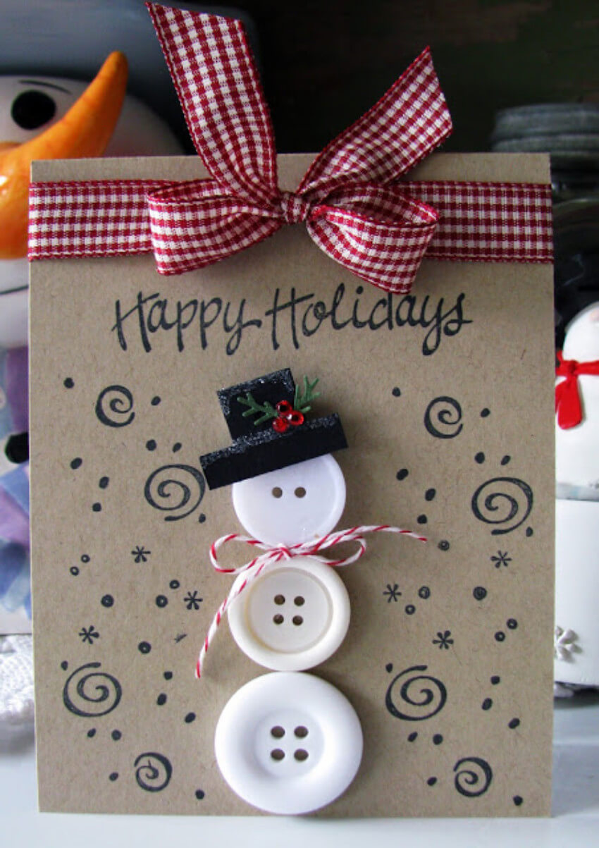 A DIY button snowman card is adorable and friendly!