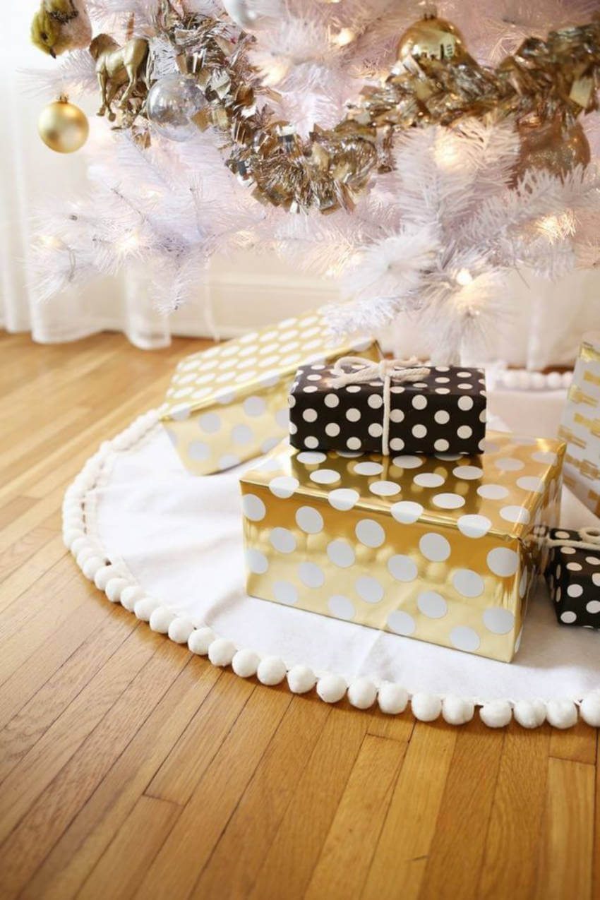 A tree skirt looks lovely and it's easy to make.
