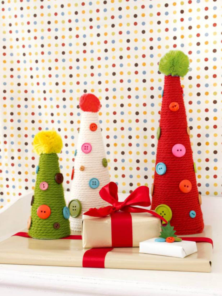 Yarn and buttons can create a cute topiary for your home.