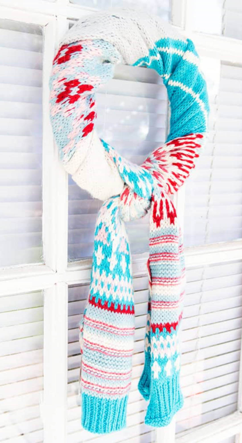 A scarf wreath is easy to make and won't runig your scarf.