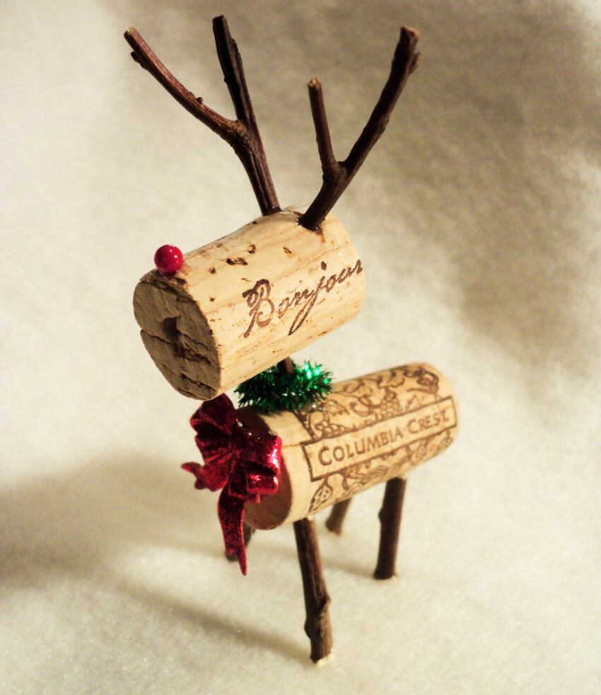 Lovely reindeer made from corks and mini branches!