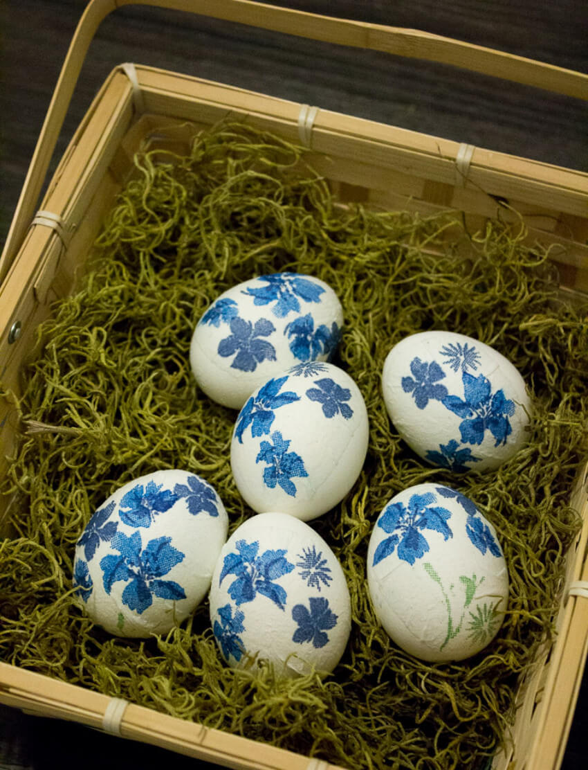 Patterned paper napkins can become gorgeous egg decorations!