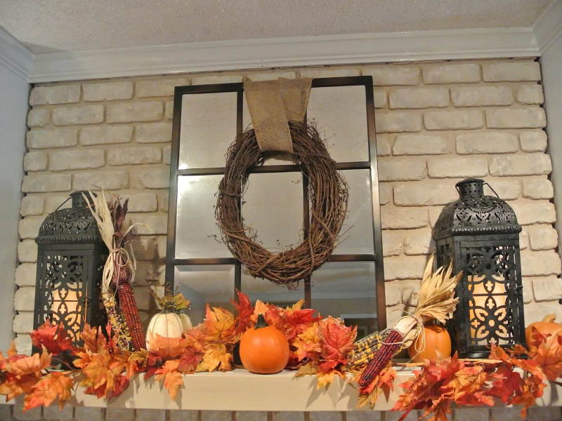 Decorate your fireplace mantle with fall items!