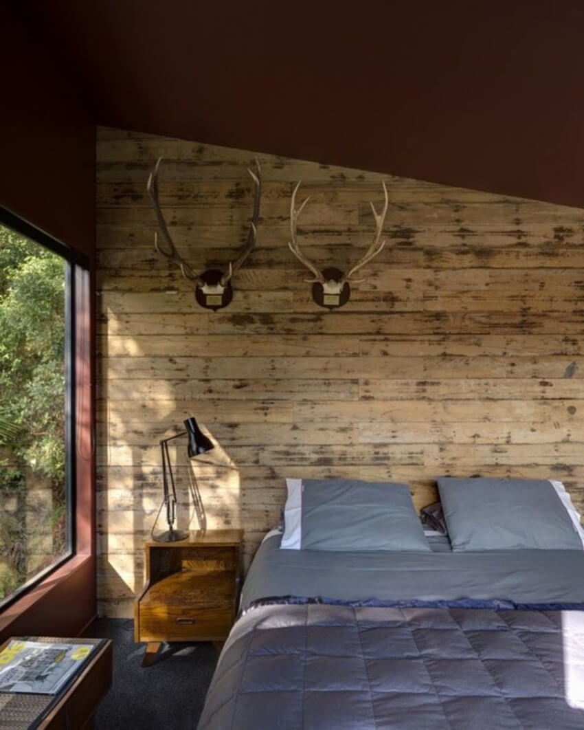 Faux wood paneling adds a blend of modern and rustic to your room!