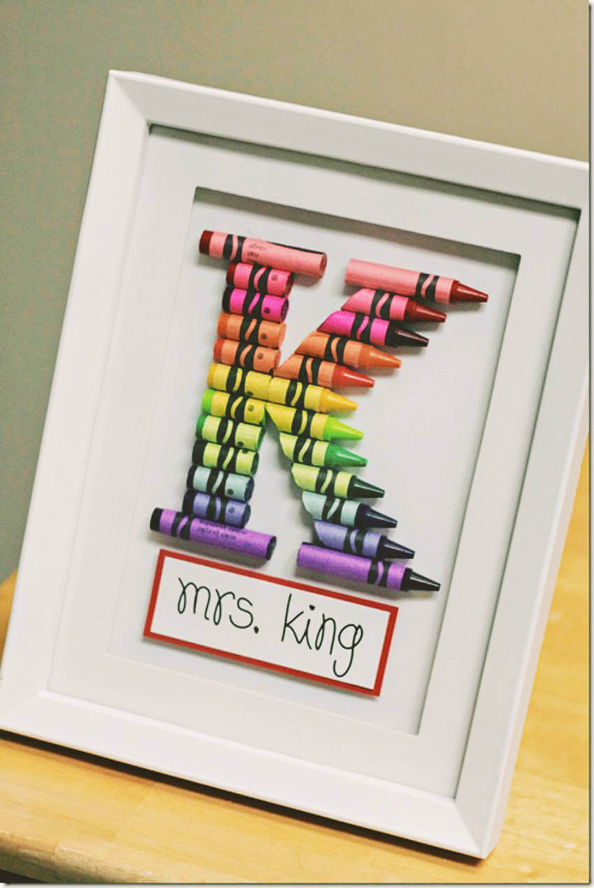 This frame with the teacher's initial is a great addition to their desk!