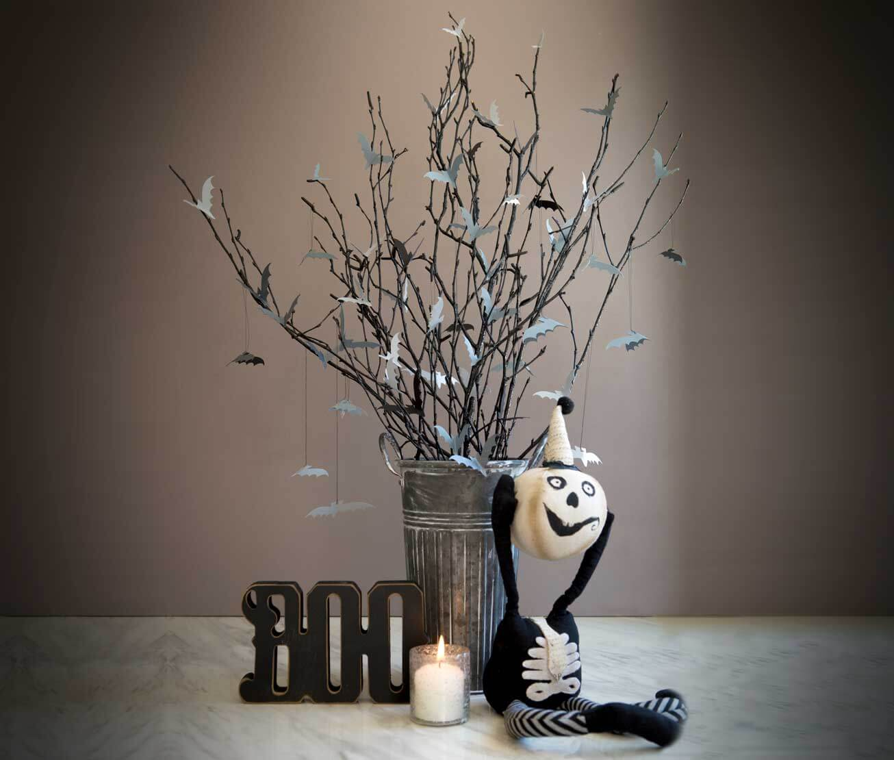 Haunted stick decor is a great centerpiece